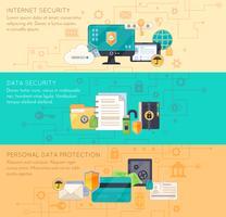 Protection des données en ligne 3 bannières plates vecteur