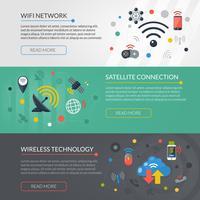 Technologie sans fil 3 bannières horizontales