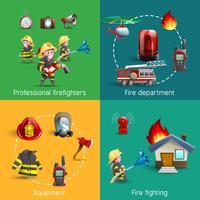 Composition Carré Pompiers 4 Icons vecteur