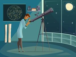 Astronome avec affiche de dessin animé rétro télescope vecteur