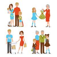 Grand ensemble d'icônes de famille vecteur