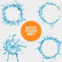 L'eau bleue éclabousse sur fond transparent vecteur