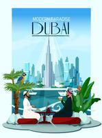 Affiche de la ville de Dubaï avec Burj Khalifa et des gratte-ciel vecteur