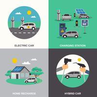 Place de la voiture électrique 4 icônes plat vecteur