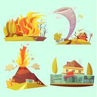 Jeu de 2 x 2 icônes de dessin animé rétro de catastrophe naturelle