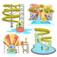 Ensemble de parc aquatique coloré vecteur