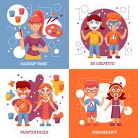 Enfants avec des visages peints Concept Icons Set vecteur