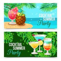 Bannières horizontales de cocktails tropicaux