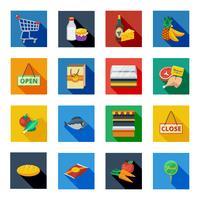 Icônes d'ombre plate de supermarché en carrés colorés vecteur