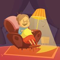 Illustration de grand-mère à tricoter