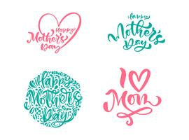 Ensemble de phrases sur la fête des mères heureux. Texte de calligraphie de lettrage de vecteur. Citations dessinées à la main vintage moderne. Meilleure illustration de maman