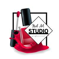 Modèle de conception de logo de studio Nail Art.