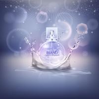 Illustration vectorielle d'un parfum de style réaliste dans une bouteille en verre.