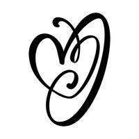 Signe d'amour coeur dessiné à la main. Illustration vectorielle de calligraphie romantique. Symbole d'icône Concepn pour t-shirt, carte de voeux, mariage affiche. Élément plat design de la Saint-Valentin vecteur
