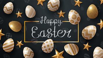 Joyeux Pâques Temlate. Oeuf et étoile. vecteur