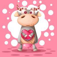 Vache mignonne avec ballon à air coeur. Illustration de l'amour