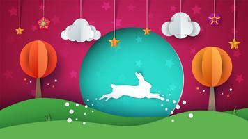 Illustration de lapin. Paysage de papier dessin animé.
