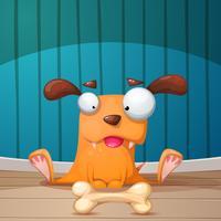 Illustration de chien drôle, mignon et fou. vecteur