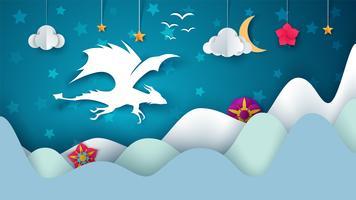 Illustration de dragon. Paysage de papier de dessin animé fantastique. vecteur