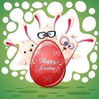 Lapins mignons Joyeuses Pâques vecteur