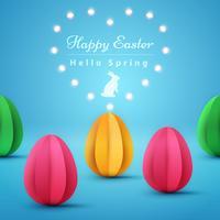 Joyeuses Pâques. Illustration de papier origami. vecteur