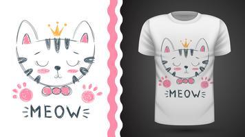 Chat mignon - idée d'un t-shirt imprimé.