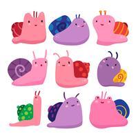 conception de la collection de personnages escargots vecteur