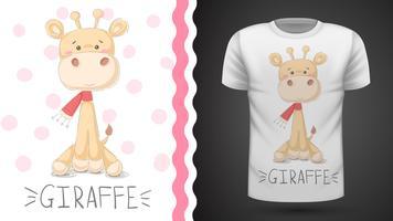 T-shirt girafe mignon - idée d'impression vecteur
