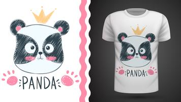 Panda mignon - idée de t-shirt imprimé vecteur