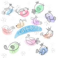 Dessin animé oiseau-oiseau doodle mignon. vecteur