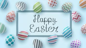 Joyeuses Pâques. Modèle d'oeuf réaliste. vecteur