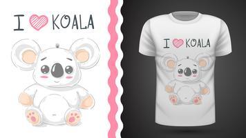 Cute koala - idée de t-shirt imprimé. vecteur