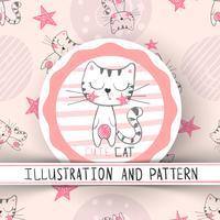 Chat mignon - modèle sans couture de dessin animé