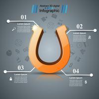 Fer à cheval, quatre lignes - infographie de l'entreprise. vecteur