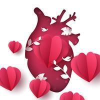 Paysage d'amour. Illustration de coeur médical.