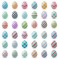 Définir la couleur oeuf réaliste. Joyeuses Pâques. vecteur