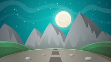 Paysage de nuit de dessin animé. Illustration de sapin comète, lune, montagnes vecteur
