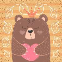 Ours de princesse mignon - illustration de dessin animé. vecteur