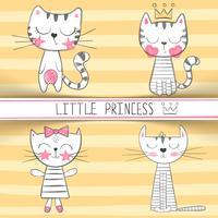 Mignonne petite princesse - personnages de chat vecteur