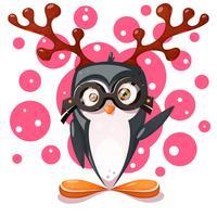 Pingouin, cerf - personnages drôles de dessins animés.