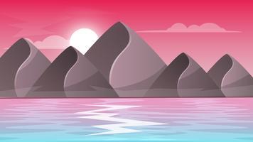 Montagne, mer - paysage de dessin animé.