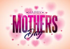Conception de carte de voeux bonne fête des mères avec fleur et éléments typographiques sur fond de coeur. vecteur