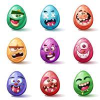 Caricature de joyeuses Pâques. Définir l'icône de l'oeuf. vecteur