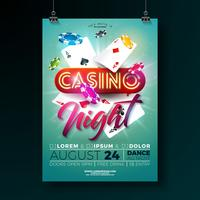 Illustration de vecteur nuit Casino flyer avec des éléments de conception des jeux et lettrage brillant néon