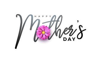 Conception de carte de voeux bonne fête des mères avec lettre de fleur et typographie vecteur