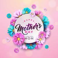 Conception de cartes de voeux bonne fête des mères avec des éléments floraux et typographiques vecteur