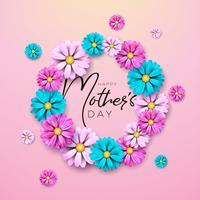 Conception de cartes de voeux bonne fête des mères avec lettre de fleur et typographie vecteur