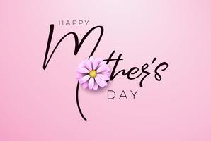 Conception de carte de voeux bonne fête des mères avec lettre de fleur et typographie sur fond rose. vecteur