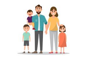 Famille heureuse. Père, mère, bébé, fils et fille. vecteur