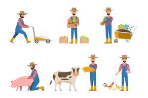 dessin animé de fermier heureux dans de nombreux personnages